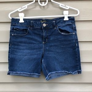 Justice girls blue cutoff and hemmed jean shorts